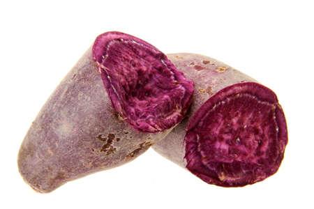 fresh purple sweet potato isolated on the white background