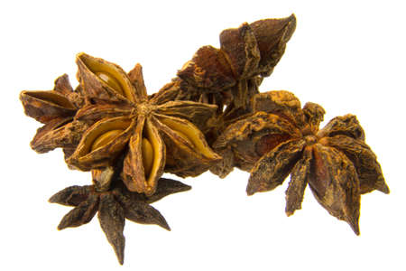 starlike: dried Chinese anise isloated on the white background