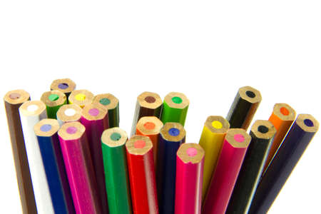 many colored pencil isolated on the white background photo