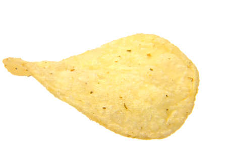 one piece of fried potato chips isolated on the white background photo