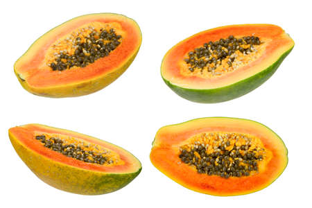 papaw: collection of four half papaya isolated on the white background