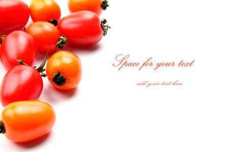 many beautiful and delicious tomatoes on the white background with sample text photo