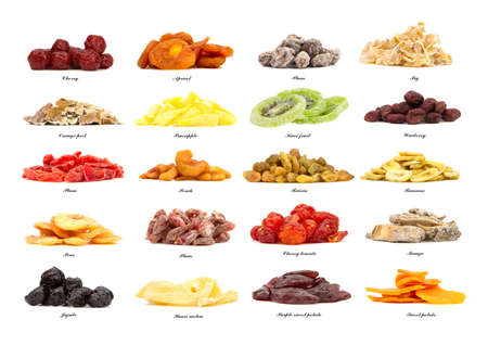 collection of 20 different kinds of dried fruit isolated on the white background photo