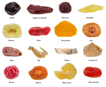 collection of 16 different kinds of dried fruit isolated on the white background photo