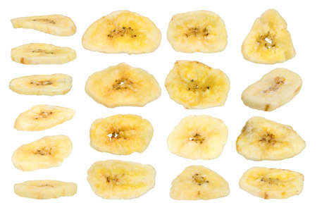 collection of dried banana isolated on white background photo