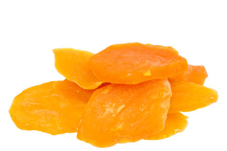 close up of dried sweet potato isolated on white background