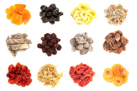 combining: collection of 12 different kinds of dried fruit isolated on the white background Stock Photo