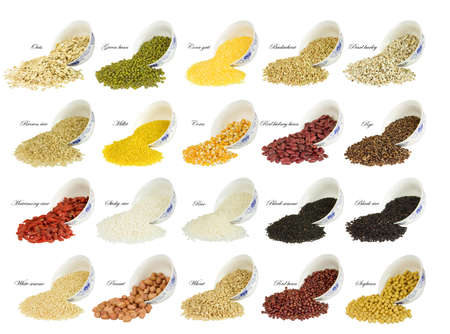 collection of 20 different kinds of grain with china bowl isolated on white background photo