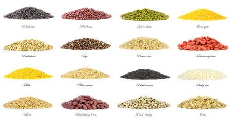 collectie van 16 verschillende soorten graan op een witte achtergrond