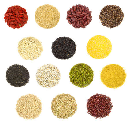collection of 15 different kinds of grain isolated on white background 版權商用圖片