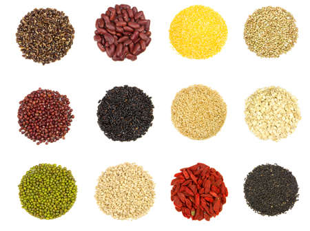 collection of 12 different kinds of grain isolated on white background photo