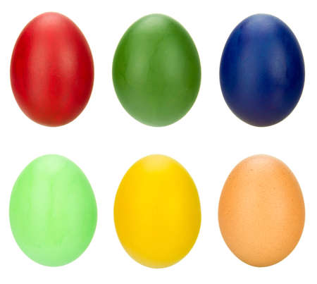 collection of 6 eggs painted in different colors photo