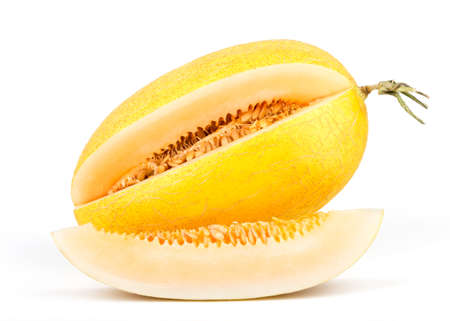 Fresh Sweet Melon Isolated on White Background. 版權商用圖片