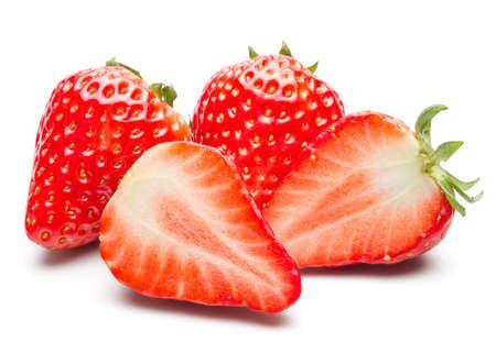 Beautiful Fresh Strawberry Isolated on White Background Imagens