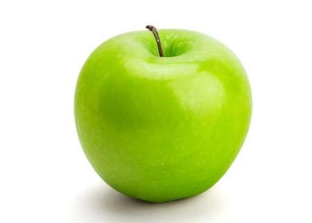 Perfekter frischer grüner Apfel lokalisiert auf weißem Hintergrund in der vollen Tiefe des Feldes Standard-Bild