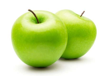 Perfecto verde manzana fresca aislada sobre fondo blanco en toda la profundidad de campo