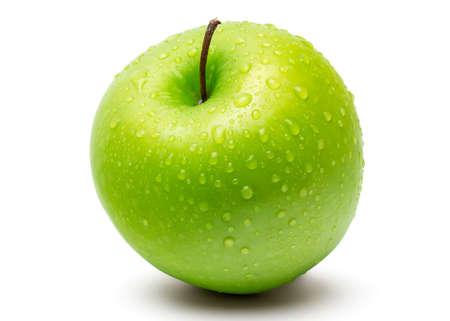Perfect Fresh Green Apple auf weißem Hintergrund mit Wassertropfen in Voll Depth of Field isoliert