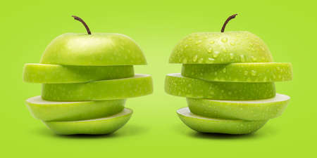 cleaned: The Set of Prefect Cleaned Green Apple Isolated on Green Background in Full Depth of Field. Stock Photo