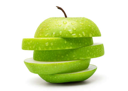 Sliced Fresh Green Apple Isolated on White Background in Full Depth of Field