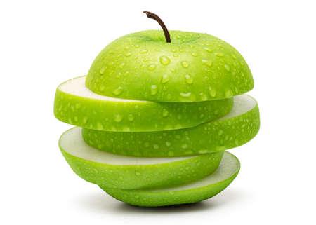 Geschnitten Fresh Green Apple auf weißem Hintergrund in voller Depth of Field isoliert