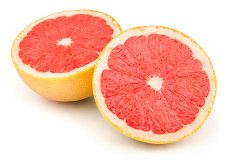 Perfect Fresh Grapefruit Isolated on White Background in Full Depth of Field