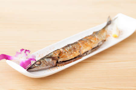 The View of Delicious Japanese Food Roast Saury on the Table.