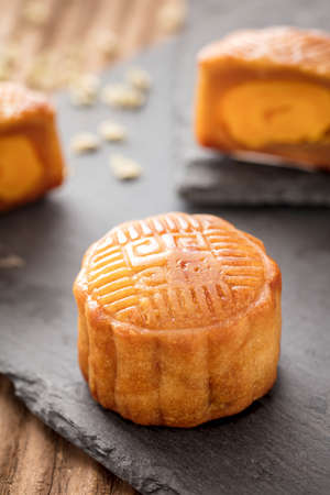 Mooncake. A traditional Chinese food for Mid-autumn festival Stock Photo