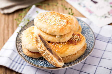 Shortening cake. Traditional Chinese food for Mid-autumn festival Stock Photo