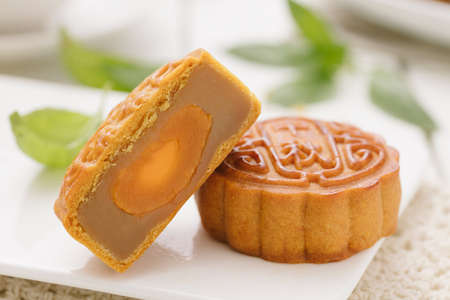 Delicious Mooncake, a kind of traditional Chinese Snack for Mid-Autumn Festival on the Table. Stock Photo - 85161219