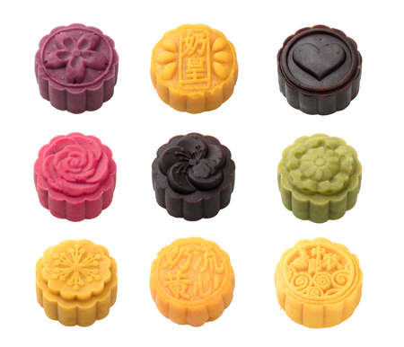 Handmad Mooncake Isolated on White Background in Full Depth of Field with Clipping Path. Stock Photo