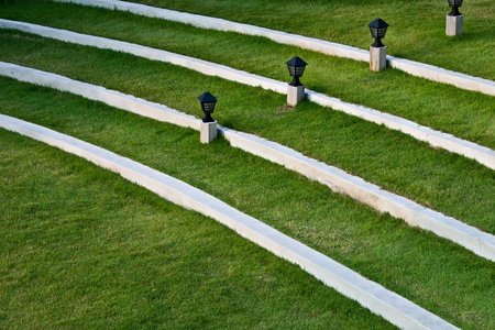 Green grass lawn with steps photo