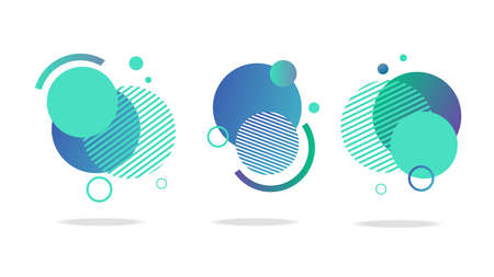 Set of round abstract badges, icons or shapes in mint, green and blue colors. Ilustração