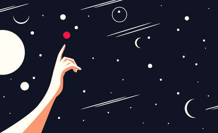 Conceptual vector illustration of space exploration. Metaphor - a person with a hand pointing at a red planet - Mars in outer space.