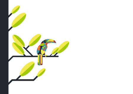 Creative vector illustration in bright colors of a tropical bird - Toucan sits on a tree branch on a white background with copy space.