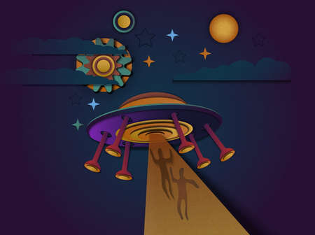 Vector illustration of a UFO or alien spacecraft flying in space. UFO abducts people.