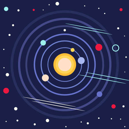 The solar system or outer space. In the center is the sun and many planets, stars around the solar orbit. Vecteurs