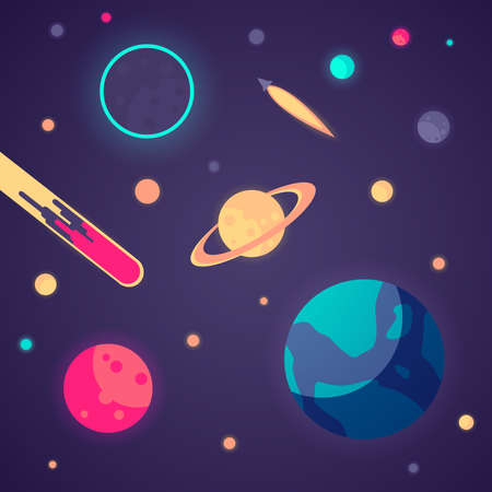 A solar system with many planets, a rocket and an asteroid.