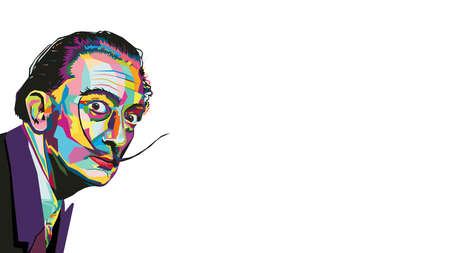 Multicolored creative vector illustration in wpap style of the famous artist Salvador Dali isolated on a white background.