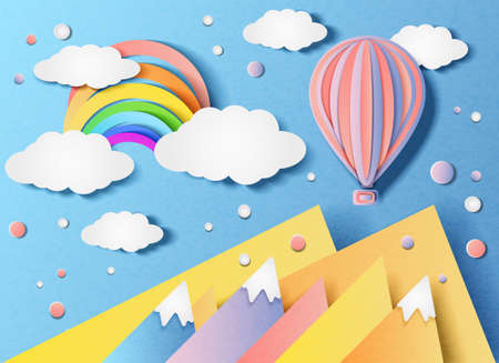 Vector illustration of a balloon flying in the sky and a rainbow over the landscape. In the style of cut paper.