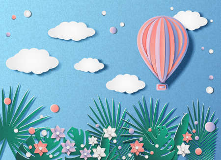 Vector illustration of a hot air balloon flying in the sky over tropical plants and flowers on a spring or summer day. In the style of cut paper.