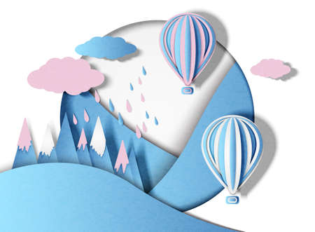 Balloons with multi-colored clouds and rain