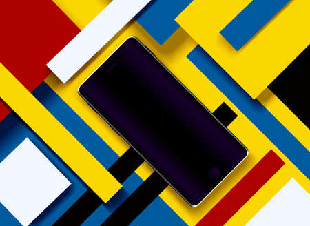 Vector illustration of a black cell phone on an abstract geometric background of colored paper.