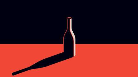 A bottle of wine in a minimal style.