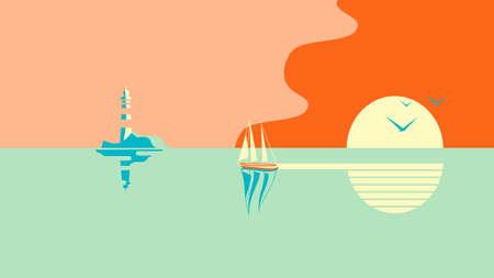 Un voilier ou un bateau flotte dans la mer au coucher du soleil. Au loin se trouve une île ou un rivage avec un phare. Vecteurs