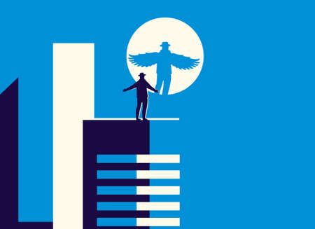 Vector illustration in minimal style of a man standing by the light of the moon on the roof of the building. The reflection of this man or angel with wings on the moon.