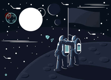 Vector illustration of astronauts standing together on the moon or another planet near the flag and dreaming to conquer Mars. One cosmonaut hugs another. Space exploration concept.
