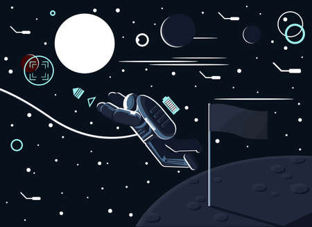 Conceptual vector illustration of an astronaut who left a flag on the moon or another planet and flew to Mars. The conquest of space and planetary exploration.
