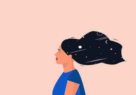 The concept of meditation, solitude or mindfulness Ilustração Vetorial