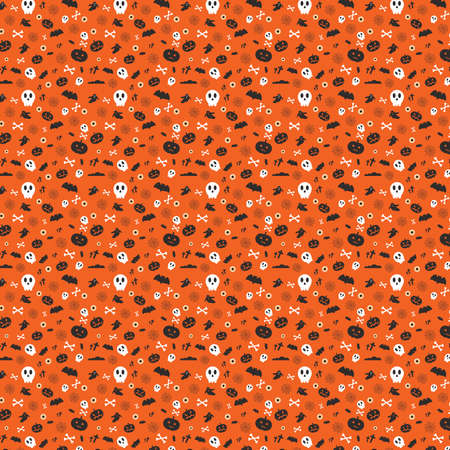 Vector illustration for halloween. Seamless abstract pattern or background from a set of skulls, bats, ghosts and bones