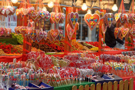 affections: colorful sweetheart candy stand
